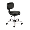 Medical Stool with Back | Black Vinyl