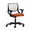 HON Motivate Task Chair | Fog ilira-Stretch Back | Adjustable Arms | Tangerine Fabric