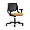 HON Motivate Task Chair | Black ilira-Stretch Back | Adjustable Arms | Mustard Fabric