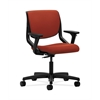 HON Motivate Task Chair | Upholstered Back | Adjustable Arms | Onyx Shell | Poppy Fabric
