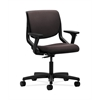 HON Motivate Task Chair | Upholstered Back | Adjustable Arms | Onyx Shell | Espresso Fabric