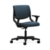 HON Motivate Task Chair | Upholstered Back | Adjustable Arms | Onyx Shell | Cerulean Fabric