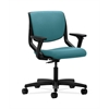 HON Motivate Task Chair | Upholstered Back | Adjustable Arms | Onyx Shell | Glacier Fabric