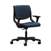 HON Motivate Task Chair | Upholstered Back | Adjustable Arms | Onyx Shell | Ocean Polyurethane