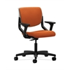 HON Motivate Task Chair | Upholstered Back | Adjustable Arms | Platinum Shell | Tangerine Fabric