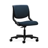 HON Motivate Task Chair | Upholstered Back | Onyx Shell | Blue Fabric