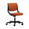 HON Motivate Task Chair | Upholstered Back | Onyx Shell | Tangerine Fabric