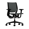 HON Purpose Mid-Back Chair   YouFit Flex Motion   Adjustable Arms   Onyx Shell   Black Base   Iron Ore Fabric