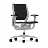 HON Purpose Mid-Back Chair | YouFit Flex Motion | Adjustable Arms | Platinum Shell | Platinum Base | Black Fabric