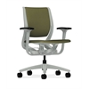 HON Purpose Mid-Back Chair | YouFit Flex Motion | Adjustable Arms | Platinum Shell | Platinum Base | Olivine Fabric