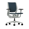 HON Purpose Mid-Back Chair | YouFit Flex Motion | Adjustable Arms | Platinum Shell | Platinum Base | Cerulean Fabric