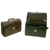 Flapover Key Lock Executive Leather Briefcase