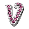 "Mirage Pet Products 3/8"" Pink Script Letter Sliding Charms V ."
