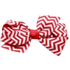 Mirage Pet Products Hair Bow Chevron French Barrette Red