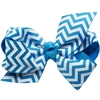 Mirage Pet Products Hair Bow Chevron Alligator Clip Turquoise