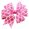 Mirage Pet Products Hair Bow Quatrefoil French Barrette Bright Pink