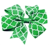 Mirage Pet Products Hair Bow Quatrefoil Alligator Clip Kelly Green