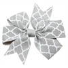 Mirage Pet Products Hair Bow Quatrefoil Alligator Clip Grey