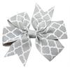 Mirage Pet Products Hair Bow Quatrefoil Alligator Clip Grey