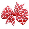 Mirage Pet Products Hair Bow Quatrefoil French Barrette Red