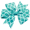 Mirage Pet Products Hair Bow Quatrefoil Alligator Clip Turquoise
