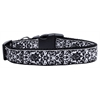 Mirage Pet Products Fancy Black and White Nylon Ribbon Dog Collars Medium