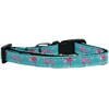 Mirage Pet Products Pink Flamingos Nylon Ribbon Dog Collar Sm