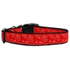 Mirage Pet Products Red and White Swirly Nylon Ribbon Dog Collars Medium