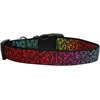 Mirage Pet Products Rainbow Leopard Nylon Ribbon Dog Collars Medium
