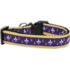 Mirage Pet Products Purple and Yellow Fleur de Lis Nylon Ribbon Dog Collar XL