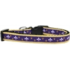 Mirage Pet Products Purple and Yellow Fleur de Lis Nylon Ribbon Dog Collar Medium Narrow