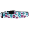Mirage Pet Products Blue and Purple Hibiscus Flower Nylon Dog Collar Medium