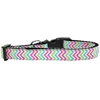 Mirage Pet Products Summer Chevrons Nylon Ribbon Dog Collar Medium Narrow