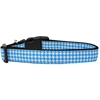 Mirage Pet Products Blue Houndstooth Nylon Dog Collar Medium