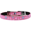 "Mirage Pet Products Butterfly Nylon Dog Collar with classic buckle 3/8"" Pink Size 14"