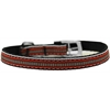 "Mirage Pet Products Preppy Stripes Nylon Dog Collar with classic buckles 3/8"" Orange/Khaki Size 16"