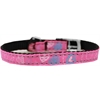 "Mirage Pet Products Crazy Hearts Nylon Dog Collar with classic buckles 3/8"" Bright Pink Size 14"