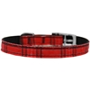 "Mirage Pet Products Plaid Nylon Dog Collar with classic buckle 3/8"" Red Size 8"