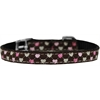 "Mirage Pet Products Argyle Hearts Nylon Dog Collar with classic buckle 3/8"" Brown Size 16"