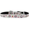 "Mirage Pet Products Cupcakes Nylon Dog Collar with classic buckle 3/8"" White Size 14"