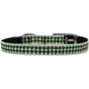 "Mirage Pet Products Green Checkers Nylon Dog Collar with classic buckle 3/8"" Size 14"