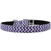 "Mirage Pet Products Chevrons Nylon Dog Collar with classic buckle 3/4"" Purple Size 16"