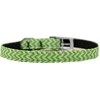 "Mirage Pet Products Chevrons Nylon Dog Collar with classic buckle 3/8"" Lime Green Size 14"