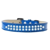 Mirage Pet Products Two Row Pearl Size 14 Blue Ice Cream Dog Collar