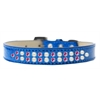 Mirage Pet Products Two Row Pearl and Pink Crystal Size 16 Blue Ice Cream Dog Collar