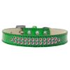Mirage Pet Products Two Row Bright Pink Crystal Size 12 Emerald Green Ice Cream Dog Collar