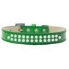 Mirage Pet Products Two Row Pearl Size 14 Emerald Green Ice Cream Dog Collar