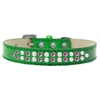 Mirage Pet Products Two Row Pearl and Pink Crystal Size 16 Emerald Green Ice Cream Dog Collar