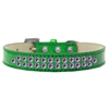 Mirage Pet Products Two Row Purple Crystal Size 20 Emerald Green Ice Cream Dog Collar