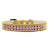 Mirage Pet Products Two Row Purple Crystal Size 14 Gold Ice Cream Dog Collar
